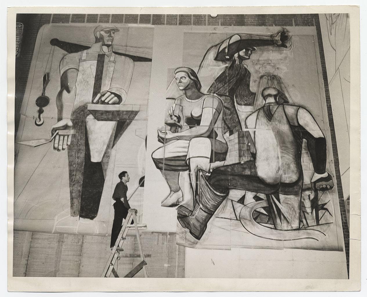 Philip Guston en train de peindre une fresque (Archives of American Art)