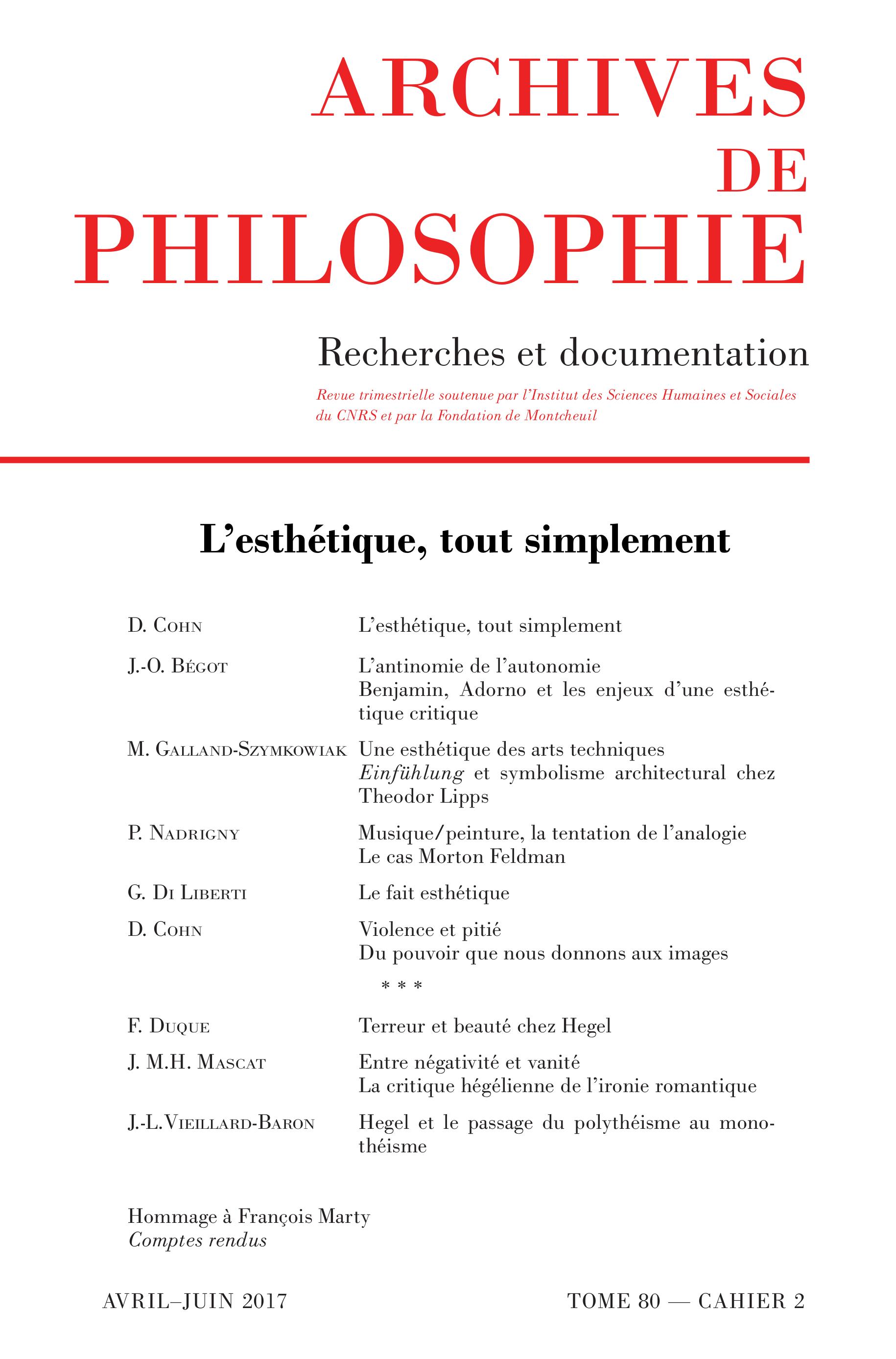 Cahier 80-2 : L'esthétique, tout simplement
